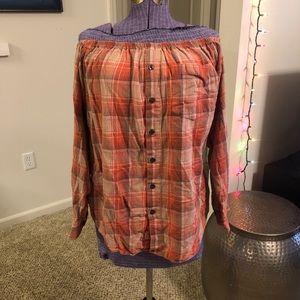 Urban Renewal Orange Off the shoulder flannel M